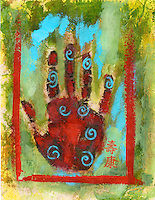 """Abstract Chakra Hand painting with the Chinese characters: """"Health"""" and """"Longevity"""""""