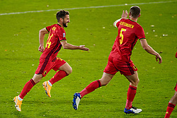 LEUVEN, BELGIUM - Sunday, November 15, 2020: Belgium's Dries Mertens (L) celebrates after scoring the second goal during the UEFA Nations League Group Stage League A Group 2 match between England and Belgium at Den Dreef. Belgium won 2-0. (Pic by Jeroen Meuwsen/Orange Pictures via Propaganda)