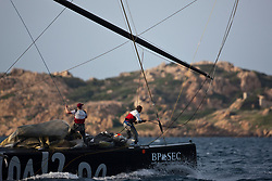 Andy Fethers and Phil Jameson during a gybe on the bow. Artemis (SWE) vs Emirates Team New Zealand (NZL). La Maddalena, Sardinia, June 1st 2010. Louis Vuitton Trophy  La Maddalena (22 May -6 June 2010) © Sander van der Borch / Artemis