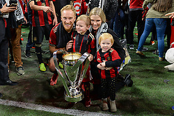 December 8, 2018 - Atlanta, GA, U.S. - ATLANTA, GA Ð DECEMBER 08:  Atlanta United's Jeff Larentowicz poses with his family, along with the MLS Cup trophy, during the post-game celebration following the conclusion of the MLS Cup between the Portland Timbers and Atlanta United FC on December 8th, 2018 at Mercedes-Benz Stadium in Atlanta, GA.  (Photo by Rich von Biberstein/Icon Sportswire) (Credit Image: © Rich Von Biberstein/Icon SMI via ZUMA Press)