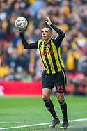 Jose Holebas (Watford) with a throw in during the FA Cup semi-final match between Watford and Wolverhampton Wanderers at Wembley Stadium in London, England on 7 April 2019.