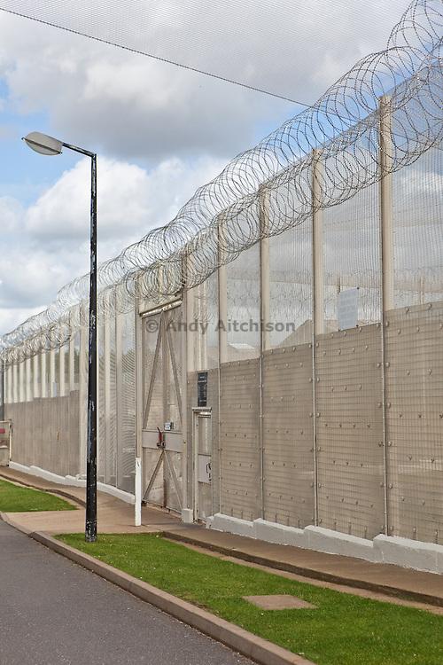 The perimeter fence. HMP The Mount, Bovingdon, Hertfordshire