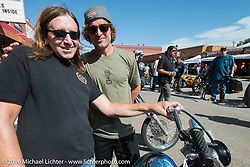 Eddie Trotta and Jesse Rooke at the Harley-Davidson Editors Choice Custom Bike Show during the annual Sturgis Black Hills Motorcycle Rally. SD, USA. August 9, 2016. Photography ©2016 Michael Lichter.