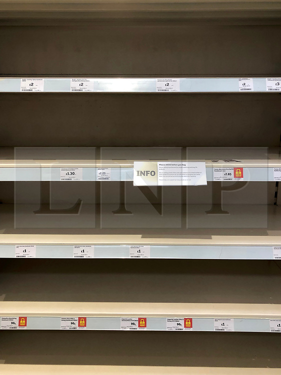 © Licensed to London News Pictures. 13/03/2020. Leeds UK. SAINSBURY'S LEEDS. Empty Hand Sanitiser shelves at Sainsbury's in the Colton area of Leeds this morning as people continue to panic buy in fear of quarantine measures and shortages as the current Coronavirus ( COVID-19 ) spread starts to impact more people. Photo credit: Andrew McCaren/LNP