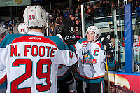KELOWNA, CANADA - FEBRUARY 10: Rodney Southam #17 of the Kelowna Rockets stands at the boards and contratulates teammates on the win against the Vancouver Giants on February 10, 2017 at Prospera Place in Kelowna, British Columbia, Canada.  (Photo by Marissa Baecker/Shoot the Breeze)  *** Local Caption ***