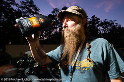Randy Samz can apparently live off of motor oil during the Cross Country Chase motorcycle endurance run from Sault Sainte Marie, MI to Key West, FL. (for vintage bikes from 1930-1948). Stage-7 covered 249 miles from Macon, GA to Tallahassee, FL USA. Thursday, September 12, 2019. Photography ©2019 Michael Lichter.