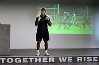 Rugby Union - 2020 - Premiership - Bristol Bears<br /> <br /> Pat Lam - Head Coach of Bristol Bears, stands above one of 13 motivational phrases that he has added to the  training centre at the new Bristol Bears Training facility<br /> <br /> Credit: COLORSPORT/ANDREW COWIE