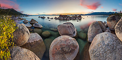 """""""Tahoe Boulders at Sunset 18"""" - Stitched panoramic photograph of boulders at Hidden Beach, Lake Tahoe. Photographed at sunset with fall colors in the foreground."""