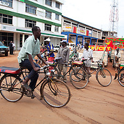 Bungoma,Kenya..The high street in Bungoma where push bikes are the most used form of transport and which are used by many as taxis.