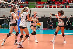 16.05.2019, Montreux, SUI, Montreux Volley Masters 2019, Deutschland vs Polen, im Bild Germany cheering: left 2 right: Marie Schoelzel (Germany #14), Nele Barber (Germany #7), Louisa Lippmann (Germany #11), Denise Imoudu (Germany #13) // during the Montreux Volley Masters match between Germany and Poland in Montreux, Switzerland on 2019/05/16. EXPA Pictures © 2019, PhotoCredit: EXPA/ Eibner-Pressefoto/ beautiful sports/Schiller<br /> <br /> *****ATTENTION - OUT of GER*****