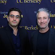 Iranian Canadian journalist Maziar Bahari (L) and Director Jon Stewart arrive at the Berkeley Repertory Theatre to speak with UC Berkeley Graduate School of Journalism students about the film Rosewater, on Tuesday, Oct 21, 2004. (Photo/Alex Menendez, UC Berkeley Graduate School of Journalism)