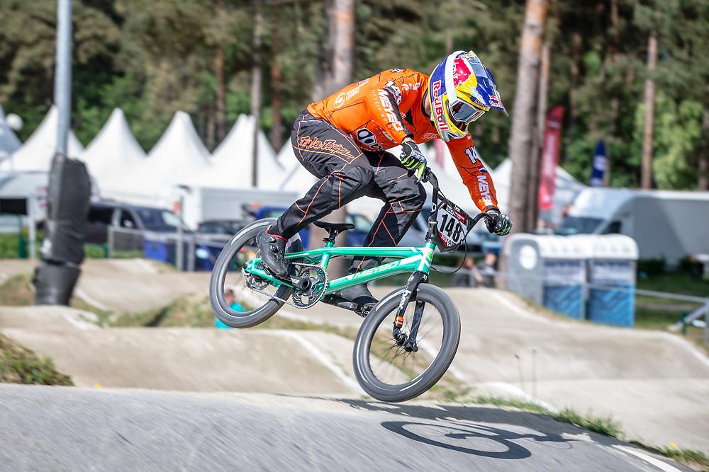 #148 (VAN GENDT Twan) NED during practice at Round 5 of the 2018 UCI BMX Superscross World Cup in Zolder, Belgium