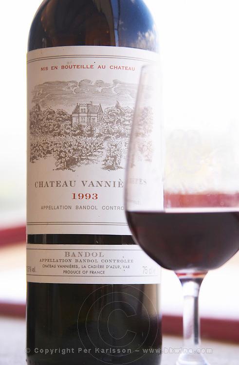 Bottle and glass of Ch Vannieres 1993 Chateau Vannieres (Vannières) La Cadiere (Cadière) d'Azur Bandol Var Cote d'Azur France