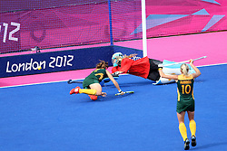 Dirkie Chamberlaine scores the only goal for South Africa as they lose their opening match by 7 goals to 1 during the Women's Hockey match between South Africa and Argentina held at the Riverbank Stadium in the Olympic Park in London as part of the London 2012 Olympics on the 29th July 2012.Photo by Ron Gaunt/SPORTZPICS