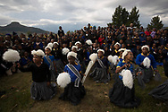 The Queen's Baton took part in various events in Lesotho on 12 May, 2017, including a relay from the centre of the capital Maseru which was led off by His Majesty King Letsie III. This Queen's Baton Relay will visit all 70 nations and territories of the Commonwealth, over 388 days and cover 230,000km. It will be the longest Relay in Commonwealth Games history, finishing at the Opening Ceremony on the Gold Coast on 4th April 2018. Photograph shows a group of school pupil performing a traditional dance for the Baton as it travelled from Maseru to Malea-lea Lodge.