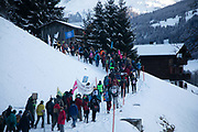 The second day of the Strike WEF march to Davos on 20th of January 2020 in Klosters, Switzerland. The march started in Schiers and walked the 24 kilomers to Klosters.  The aim is to finish in Davos with a public meeting in the town on the day the WEF begins. The march is a three day protest against the World Economic Forum meeting in Davos. The activists want climate justice and think that The WEF is for the worlds richest and political elite only.