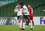 Dundalk's Nathan Oduwa with Patrick McEleney in the lead up to the second penalty during the Europa League Round 1 match between Dundalk and SK Rapid Wien at Aviva Stadium, Dublin, Ireland on 26 November 2020.