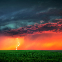 Cloud to ground lightning from a severe thunderstorm in western Kansas.