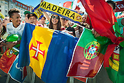 portugueses supporters from Madeira island and other supporters at Alameda Dom Afonso Henriques, in Lisbon. Portugal's national squad won the Euro Cup the day before, beating in the final France, the organizing country of the European Football Championship, in a match that ended 1-0 after extra-time.
