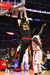 January 29, 2019 - Los Angeles, CA, U.S. - LOS ANGELES, CA - JANUARY 28: Atlanta Hawks Center Alex Len (25) dunks the ball during a NBA game between the Atlanta Hawks and the Los Angeles Clippers on January 28, 2019 at STAPLES Center in Los Angeles, CA. (Photo by Brian Rothmuller/Icon Sportswire) (Credit Image: © Brian Rothmuller/Icon SMI via ZUMA Press)