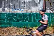 Frogtown Graffiti next to bicycle path along Los Angeles River, Elysian Valley, Los Angeles, California, USA