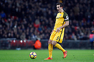 Lewis Dunk of Brighton & Hove Albion in action. Premier league match, Tottenham Hotspur v Brighton & Hove Albion at Wembley Stadium in London on Wednesday 13th December 2017.<br /> pic by Steffan Bowen, Andrew Orchard sports photography.