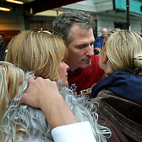 (01/20/10-Boston,MA) US Senator-elect Scott Brown appears outside the Park Plaza Hotel early this morning where he prepared to say goodbye to his daughter Arianna, who was returning to college, as his wife Gail Huff stood by, at left. photo by Mark Garfinkel