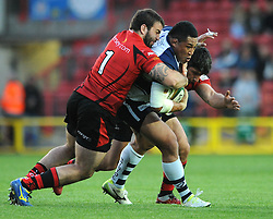 Bristol Rugby's Anthony Perenise is challenged by Jersey Rugby's Ignacio Lancuba  - Photo mandatory by-line: Dougie Allward/JMP - Mobile: 07966 386802 - 17/04/2015 - SPORT - Rugby - Bristol - Ashton Gate - Bristol Rugby v Jersey - Greene King IPA Championship
