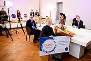 """DEN HAAG, 25-03-2021, Onze Ambassade<br /> <br /> Koningin Maxima tijdenst een korte toespraak tijdens 'Op Stoom met Qredits' van Qredits - Microfinanciering Nederland. Met het evenement wil Qredits ondernemers uit het midden- en kleinbedrijf (mkb) inspiratie en hulp bieden in de coronacrisis. <br /> <br /> Queen Maxima gave a short speech during """"Op Stoom met Qredits"""" by Qredits - Microfinance Netherlands. With the event, Qredits wants to offer entrepreneurs from small and medium-sized enterprises (SMEs) inspiration and help in the corona crisis."""