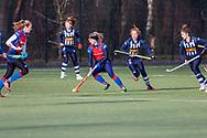 BILTHOVEN -  Hoofdklasse competitiewedstrijd dames, SCHC v hdm, seizoen 2020-2021.<br /> Foto: Laurien Leurink (SCHC) achtervolgt door Tessa Beetsma (hdm) en Flora Peel (hdm)