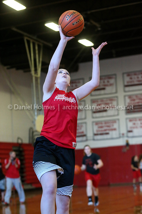 (11/27/17, MILFORD, MA) Senior Juliana Tracy goes up for a layup during basketball practice at Milford High School on Monday. [Daily News and Wicked Local Photo/Dan Holmes]