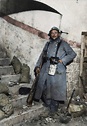 """Colorized photographs soldiers from the World War One<br /> <br /> With his impressive colorized photographs of the World War One, Frédéric Duriez gives us a new look at the conflict that ravaged the world between 1914 and 1918, revealing the difficult daily life of the French soldiers. <br /> <br /> Photo Shows: """"Fort Vaux November 22 , 1916. A sentry posted inside the Fort.<br /> ©Frédéric Duriez/Exclusivepix Media"""