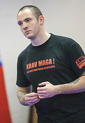 Stef Noij, KMG Instructor from the Institute Krav Maga Netherlands, takeing the IKMS G Level Programme seminar today at the Scottish Martial Arts Centre, Alloa.