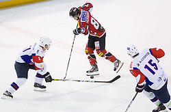 Mitja Robar of Slovenia vs Raphael Herburger of Austria during Friendly Ice-hockey match between National teams of Slovenia and Austria on April 19, 2013 in Ice Arena Tabor, Maribor, Slovenia. (Photo By Vid Ponikvar / Sportida)
