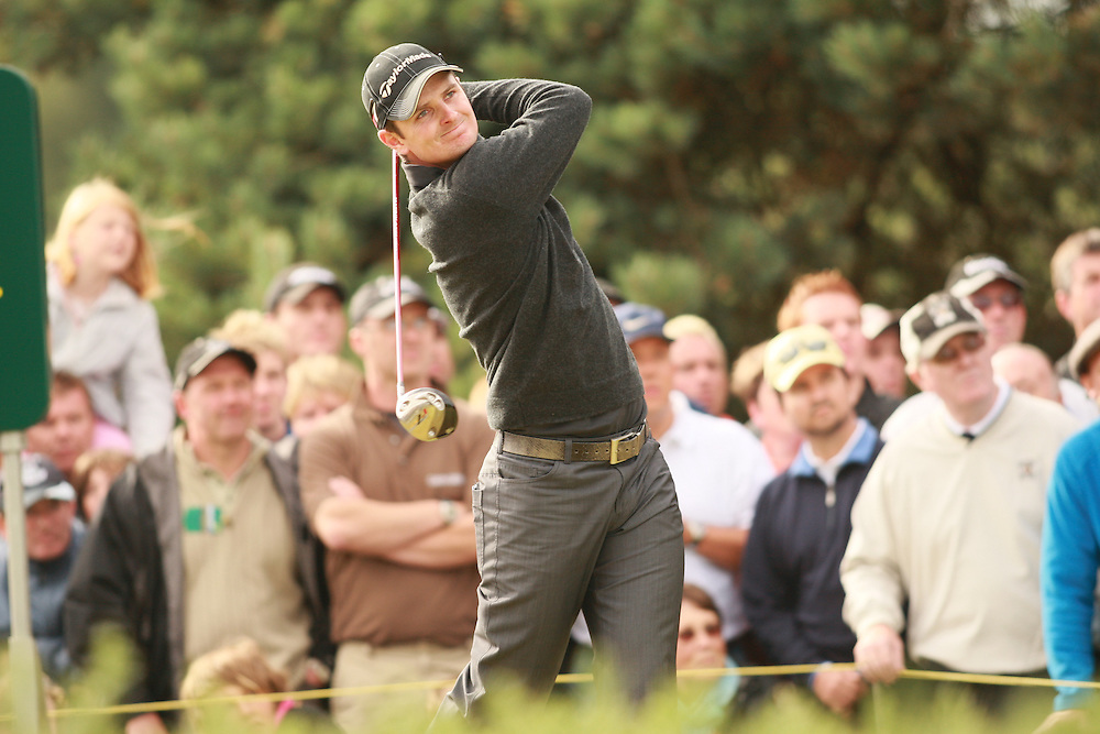 CARNOUSTIE, SCOTLAND - JULY 20: Justin Rose follows through on a tee shot during the second round of the 136th Open Championship in Carnoustie, Scotland at Carnoustie Golf Links on Friday, July 20, 2007. (Photo by Darren Carroll/Getty Images) *** LOCAL CAPTION *** Justin Rose