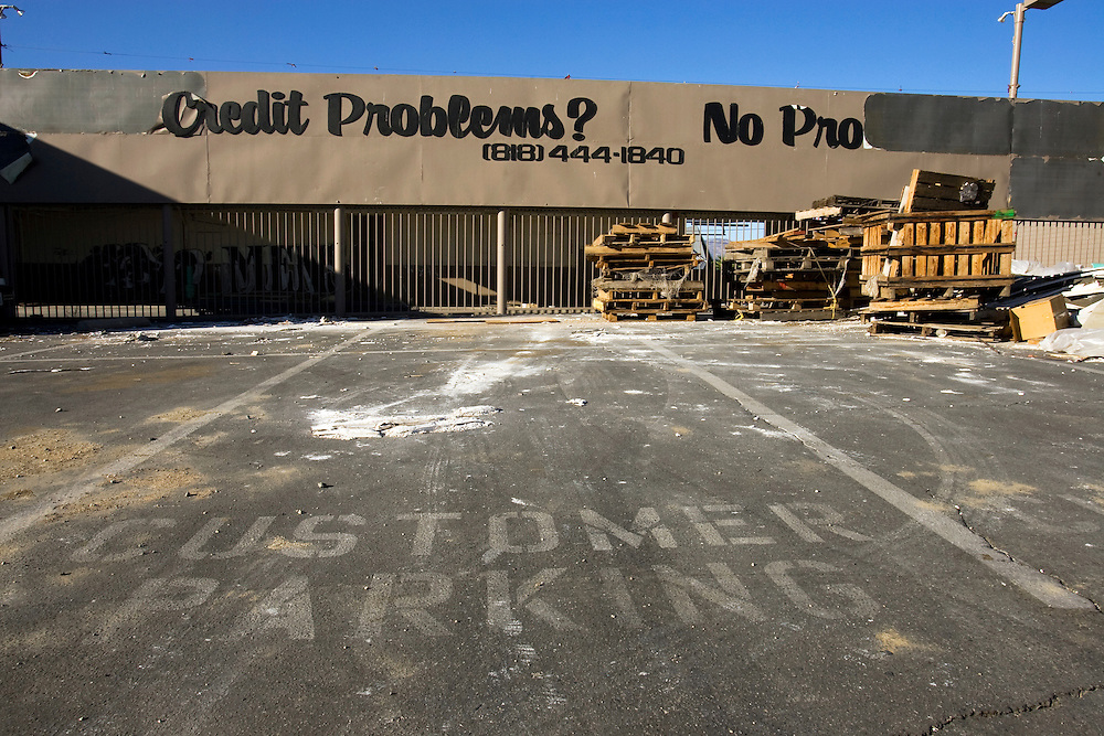 A former car dealership in Los Angeles, reportedly to have been a Mitsubishi dealership, is in the process of being demolished.