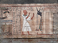 Ancient Egyptian Book of the Dead papyrus  - Aaner Book of the Dead, Thebes - 21st Dynasty (1076-943C).Turin Egyptian Museum. <br /> <br /> During the 21st Dynasty the number of spells in Books of the Dead was often reduced in favour of decrative panels. small illustrated vignettes take up a large part of the papytus surface .<br /> <br /> Visit our HISTORIC WALL ART PRINT COLLECTIONS for more photo prints https://funkystock.photoshelter.com/gallery-collection/Historic-Antiquities-Photo-Wall-Art-Prints-by-Photographer-Paul-E-Williams/C00002uapXzaCx7Y<br /> <br /> Visit our Museum ART & ANTIQUITIES COLLECTIONS to browse more photo at: https://funkystock.photoshelter.com/p/museum-antiquities