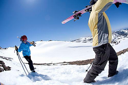 Group of skiers hiking at Kirkwood resort near Lake Tahoe, CA.