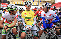 The best in mountain overall classification Mitja Mahoric of Slovenia (Perutnina Ptuj), winner Jure Golcer of Slovenia (LPR Brakes) and best young rider Robert Kiserlovski of Croatia Adria Mobil) just before start in last 4th stage of the 15th Tour de Slovenie from Celje to Novo mesto (157 km), on June 14,2008, Slovenia. (Photo by Vid Ponikvar / Sportal Images)/ Sportida)