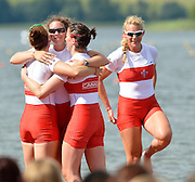 Trackai. LITHUANIA. CAN BW4-. Bow, Christine ROPER, Susanne GRAINGER, Cherly COPSON and Antje VON SEYDLITZ-KURZBACH Gold medalist in the women's four at the 2012 FISA U23 World Rowing Championships,  Lake Galve.  16:22:21  Saturday  14/07/2012 [Mandatory Credit: Peter Spurrier/Intersport Images]..Rowing. 2012. U23.