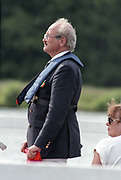 """Henley on Thames. Henley. GREAT BRITAIN;  Umpire, Martin BRANDON-BRAVO. Sitting right, wife Sally BRANDON-BRAVO.<br /> <br /> 1995 Women's Henley Regatta. Henley Reach. River Thames.<br /> <br /> [Mandatory Credit; """"Photo, Peter Spurrier/Intersport-images]"""