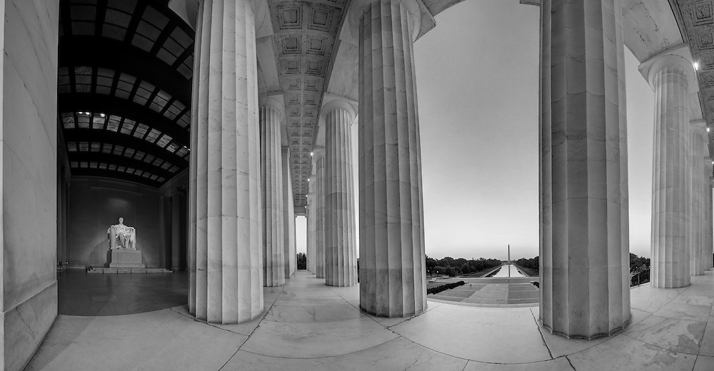 Multi-Row Panorama of Lincoln Memorial looking toward the Washington Monument. <br />