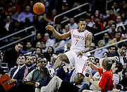 Feb 15, 2012; Houston, TX, USA; Houston Rockets point guard Kyle Lowry (7) saves a ball against the Oklahoma City Thunder during the third quarter at the Toyota Center. Mandatory Credit: Thomas Campbell