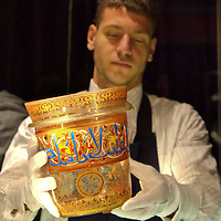 """London """"7th March 2009 Sotheby ' s Art of the Islamic World Sale on April 1st  The Sale include  a Rare Maniluk Glass Bucket known at the  Rotschild Bucket  expected to sale between £ 600,000 and 800,000..Standard Licence feee's apply  to all image usage.Marco Secchi - Xianpix tel +44 (0) 845 050 6211 .e-mail ms@msecchi.com .http://www.marcosecchi.com"""