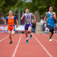 051615       Cable Hoover<br /> <br /> Miyamura Patriot A.J. Starkovich fights for a fourth-place finish in the 400m race during the New Mexico State Track Meet Saturday at the University of New Mexico Stadium in Albuquerque.