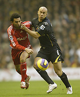 Photo: Aidan Ellis.<br /> Liverpool v Watford. The Barclays Premiership. 23/12/2006.<br /> Liverpool's Jermain Pennant (L) battles with Watford's Gavin Mahon