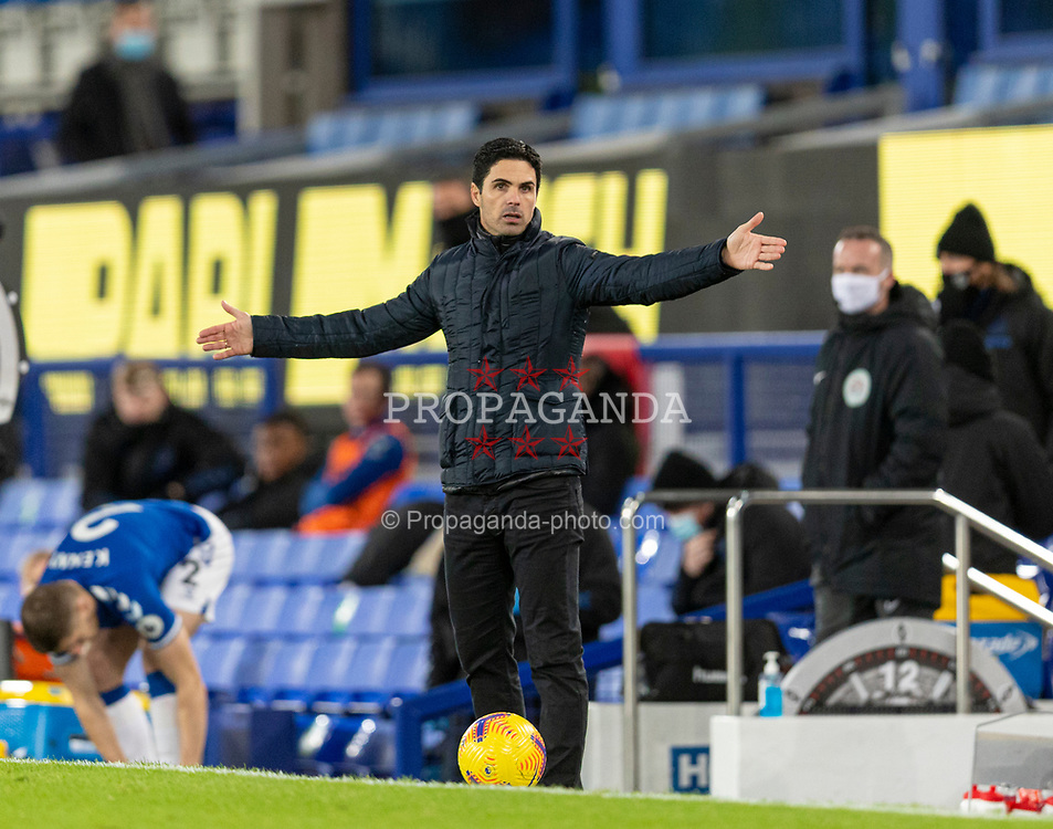 LIVERPOOL, ENGLAND - Saturday, December 19, 2020: Arsenal's manager Mikel Arteta reacts during the FA Premier League match between Everton FC and Arsenal FC at Goodison Park. Everton won 2-1. (Pic by David Rawcliffe/Propaganda)