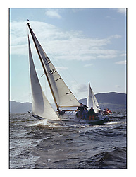 The Clyde Cruising Club's 1977 Tomatin Trophy the first Scottish Series held at Tarbert Loch Fyne.  An overnight race from Gourock to Campbeltown then on to Olympic Triangles in Loch Fyne. ..1940C Tangle owned by J. Baird