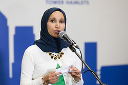 © Licensed to London News Pictures. 04/05/2018. London, UK. RABINA KHAN speaking after losing the election of the Mayor of Tower Hamlets, at the Excel Centre in London. Photo credit: Vickie Flores/LNP
