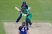 Pakistan womens cricket player Asmavia Iqbal Khokhar  survives as England womens cricket player Sarah Taylor (wk)  whips the bails off during the ICC Women's World Cup match between England and Pakistan at the Fischer County Ground, Grace Road, Leicester, United Kingdom on 27 June 2017. Photo by Simon Davies.